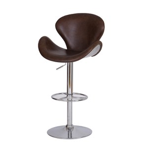 Vintage Aviator Bar Leather Aluminium Chair with Metal Base