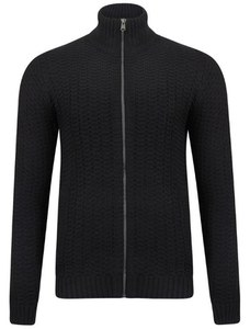 Tokyo Laundry Men's Clancy Zip Through Textured Knit - Dark Navy