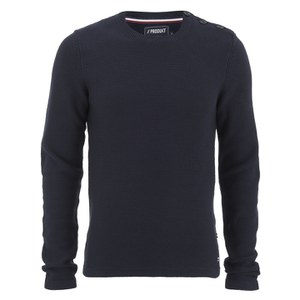Produkt Men's HNN Buttoned Crew Neck Jumper - Black Navy