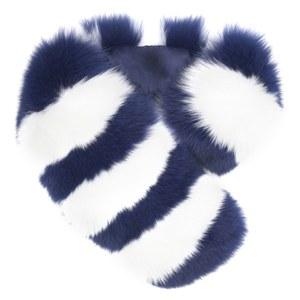 Charlotte Simone Women's Candy Stripe Cuff Faux Fur Scarf - Navy/White