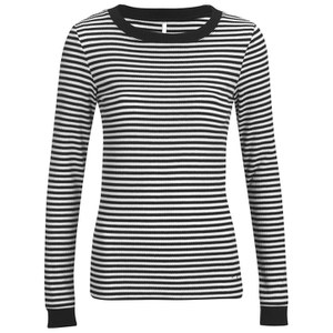 ONLY Women's Madion Long Sleeve Rib Top - Cloud Dancer/Black