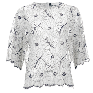 Ganni Women's Lace Blouse - Vanilla Ice