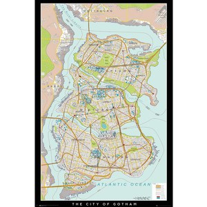 DC Comics Batman Begins Gotham Map - 24 x 36 Inches Maxi Poster