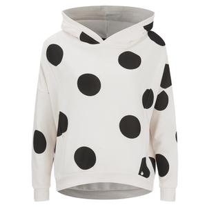 ONLY Women's Oversized Long Sleeve Hooded Sweatshirt - Cream/Black Spots
