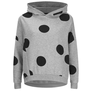 ONLY Women's Oversized Long Sleeve Hooded Sweatshirt - Grey Melange/Black Spots