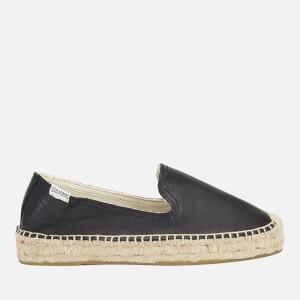 Soludos Women's Leather Platform Espadrille Smoking Slippers - Black