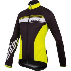 Santini Fluke Thermofleece Long Sleeve Jersey - Black/Yellow