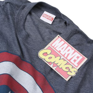 Marvel Men's Captain America Shield T-Shirt - Heat: Image 3