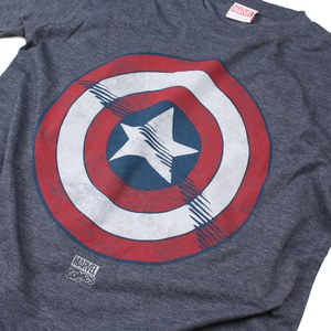 Marvel Men's Captain America Shield T-Shirt - Heat: Image 2