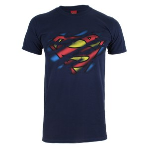 DC Comics Superman Torn Logo Heren T-Shirt - Navy