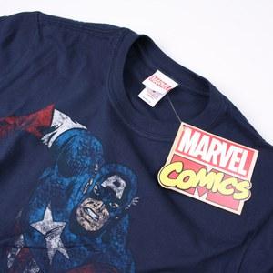 Marvel Men's Captain America T-Shirt - Navy: Image 3