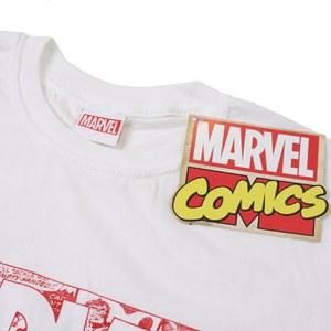 Marvel Men's Strip Logo T-Shirt - White: Image 3