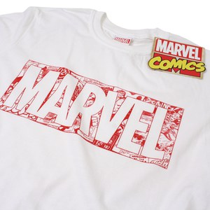 Marvel Men's Strip Logo T-Shirt - White: Image 2