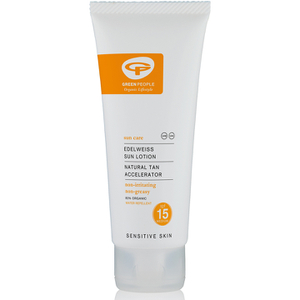 Green People Sun Lotion -aurinkovoide, SPF15 Sun Tan Acceleratorilla, matkakoko (100ml)
