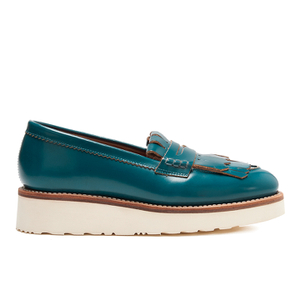 Grenson Women's Juno Leather Frill Loafers - Teal Rub Off