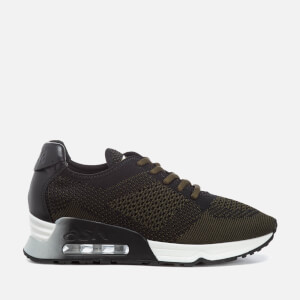 Ash Women's Lucky Knit/Nappa Wax Runner Trainers - Army/Black