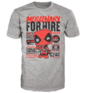 Marvel Deadpool for Hire Pop! T-Shirt - Grey