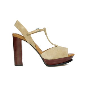 See by Chloe Women's Suede Platform T Bar Heeled Sandals - Beige