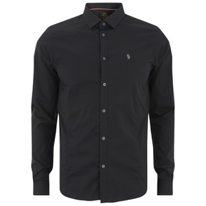 Luke Men's Butchers Pencil Super Slim Tape Detail Long Sleeve Shirt - Black
