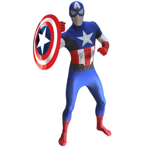 Morphsuit Adults' Deluxe Zapper Marvel Capitán América