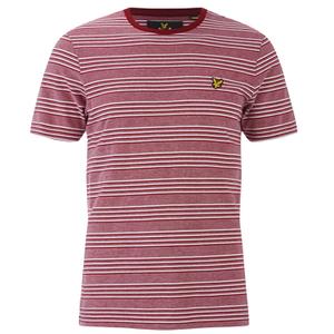 Lyle & Scott Vintage Men's Crew Neck Oxford Stripe T-Shirt - Ruby
