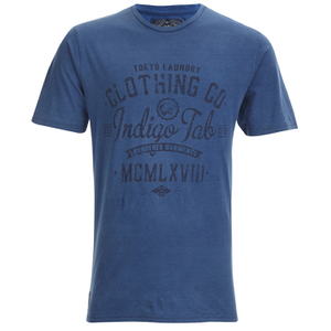 Tokyo Laundry Men's Indigo Tiger Acid Wash T-Shirt - Light Indigo