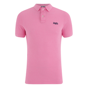Superdry Men's Grindle Short Sleeve Pique Polo Shirt - Fluro Pink Grindle