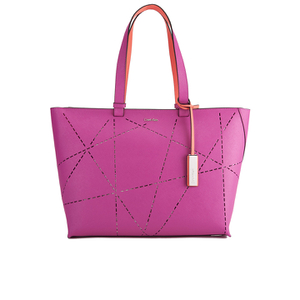 Calvin Klein Women's Sofie Perforated Large Saffiano Tote Bag - Berry