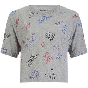 Carhartt Women's Lucile Short Sleeved Scribble Print Crop T-Shirt - Grey Heather