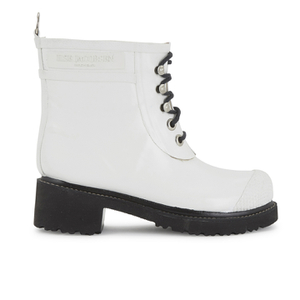 Ilse Jacobsen Women's Lace Up Ankle Rubber Boots - White