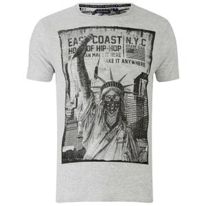 Brave Soul Men's Lamont Graphic Print T-Shirt - Ecru Marl