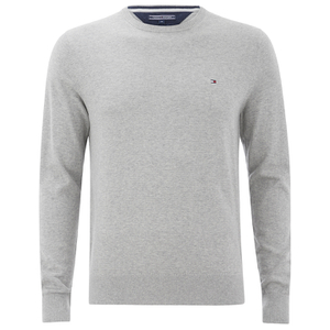 Tommy Hilfiger Men's Cotton Linen Crew Neck Jumper - Cloud