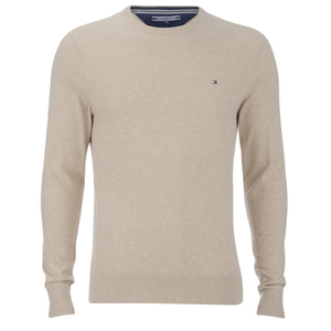 Tommy Hilfiger Men's Cotton Linen Crew Neck Jumper - Oyster