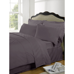 Highams 100% Egyptian Cotton Plain Dyed Bedding Set - Vintage Mauve