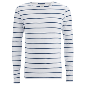 Scotch & Soda Men's Striped Long Sleeved Boat T-Shirt - White