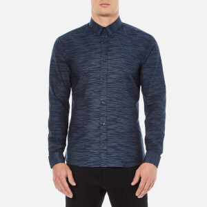 HUGO Men's Ero3 Stripe Detail Long Sleeve Shirt - Navy