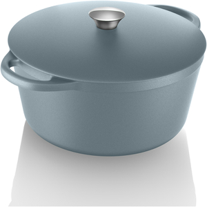 Tower IDT90001 Cast Iron Round Casserole Dish - Blue - 26cm