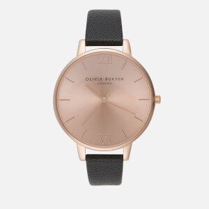 Olivia Burton Women's Big Dial Watch - Black/Rose Gold