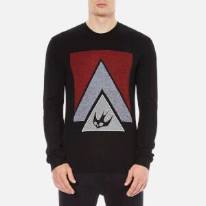 McQ Alexander McQueen Men's Swallow Glyph Crew Sweatshirt - Black/Blaze Red