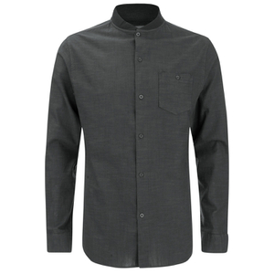 Brave Soul Men's Oakley Collarless Long Sleeve Shirt - Charcoal/Black