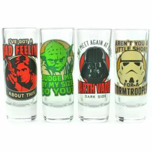 Star Wars Quotes Set of 4 Mini Glasses