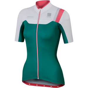 Sportful BodyFit Women's Short Sleeve Jersey - Green/White/Pink