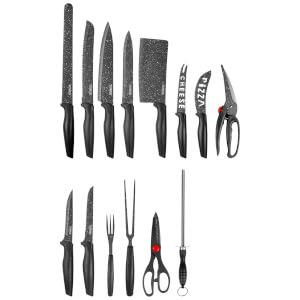 Tower T81521B 24 Piece Stone Coated Knife Set - Black