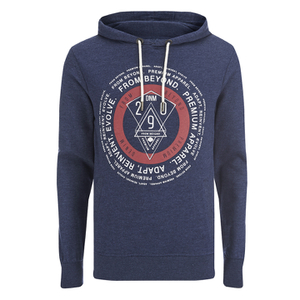 Smith & Jones Men's Pseudo Print Hoody - Navy Blazer Marl