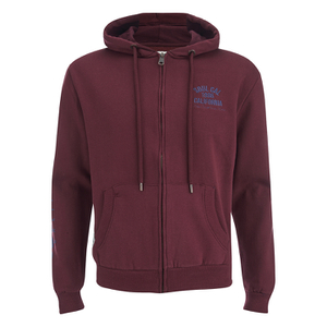 Soul Cal Men's Sleeve Print Logo Zip Through Hoody - Tawny Port