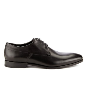 HUGO Men's Square Laser Detail Leather Derby Shoes - Black