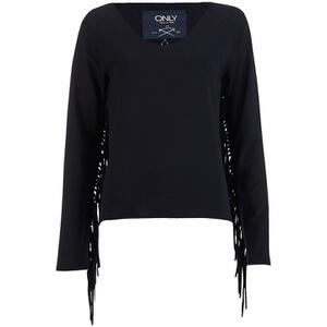ONLY Women's Madge Long Sleeve O-Neck Tassel Sweatshirt - Black