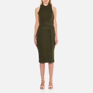 Lavish Alice Women's Rib Knitted Open Back Wrap Tie Midi Dress - Khaki
