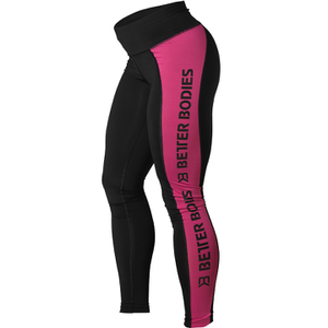 Better Bodies Women's Side Panel Tights - Black/Pink