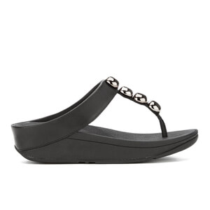 FitFlop Women's Rola Leather Toe-Post Sandals - Black